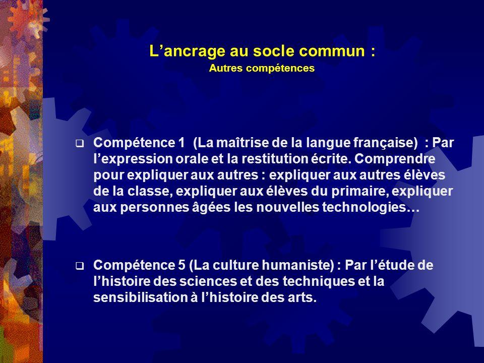 Lancrage au socle commun : Autres compétences Compétence 1 (La maîtrise de la langue française) : Par lexpression orale et la restitution écrite. Comp