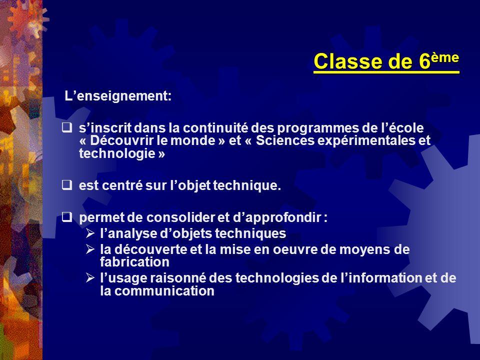 Classe de 6 ème Lenseignement: sinscrit dans la continuité des programmes de lécole « Découvrir le monde » et « Sciences expérimentales et technologie