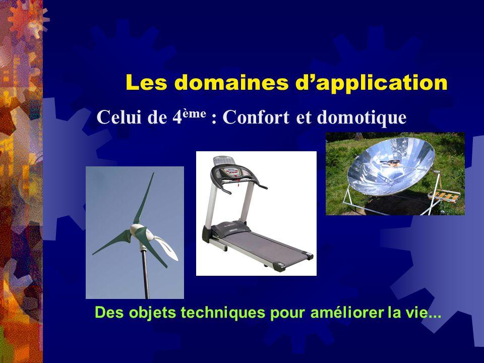Les domaines dapplication Celui de 4 ème : Confort et domotique Des objets techniques pour améliorer la vie...