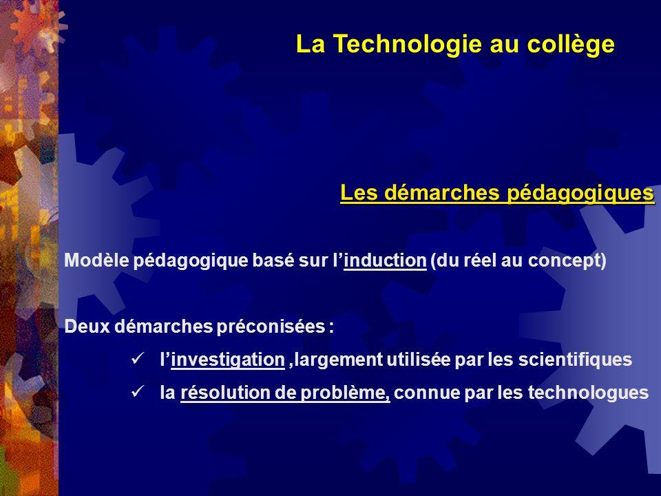 La Technologie au collège Les démarches pédagogiques Modèle pédagogique basé sur linduction (du réel au concept) Deux démarches préconisées : linvesti