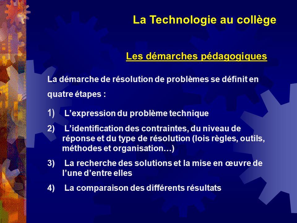 La Technologie au collège Les démarches pédagogiques La démarche de résolution de problèmes se définit en quatre étapes : 1) Lexpression du problème t