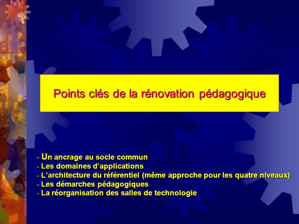 Points clés de la rénovation pédagogique - U n U n ancrage au socle commun -Les domaines dapplications -Larchitecture du référentiel (même approche po