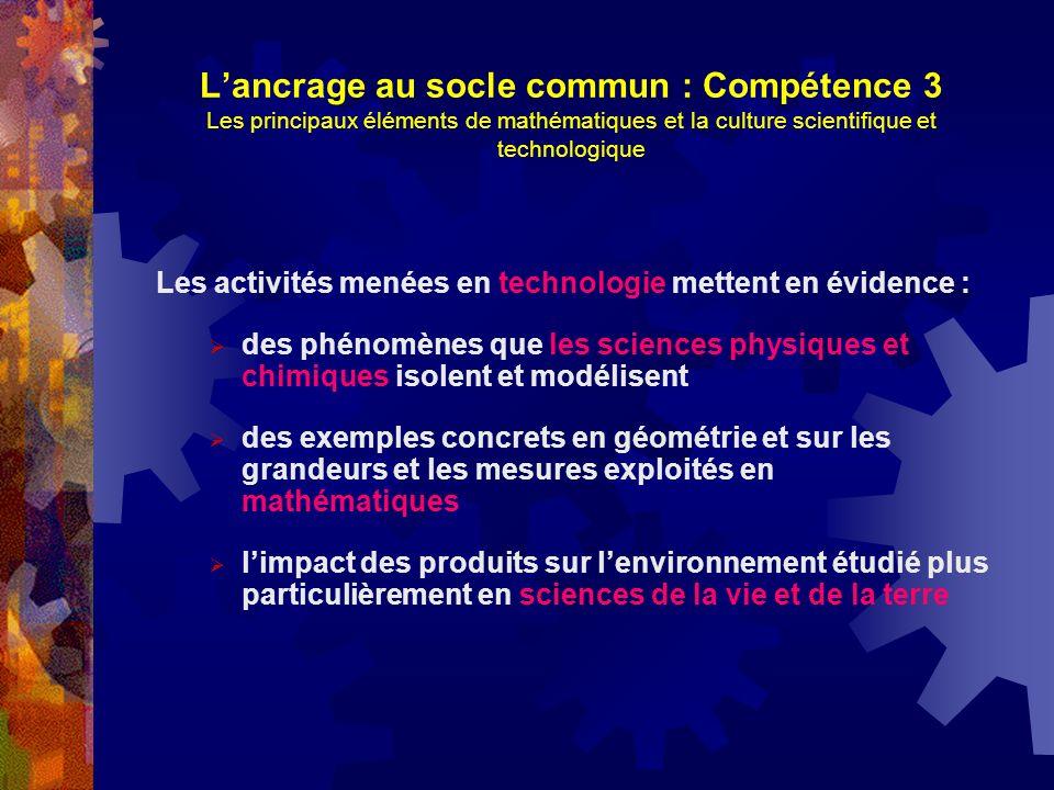 Lancrage au socle commun : Compétence 3 Les principaux éléments de mathématiques et la culture scientifique et technologique Les activités menées en t