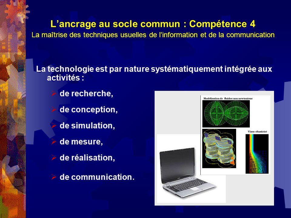 Lancrage au socle commun : Compétence 4 La maîtrise des techniques usuelles de linformation et de la communication La technologie est par nature systé