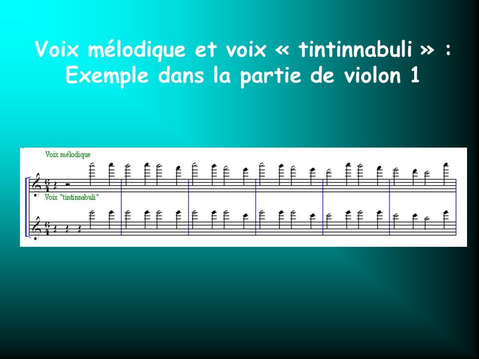 Voix mélodique et voix « tintinnabuli » : Exemple dans la partie de violon 1