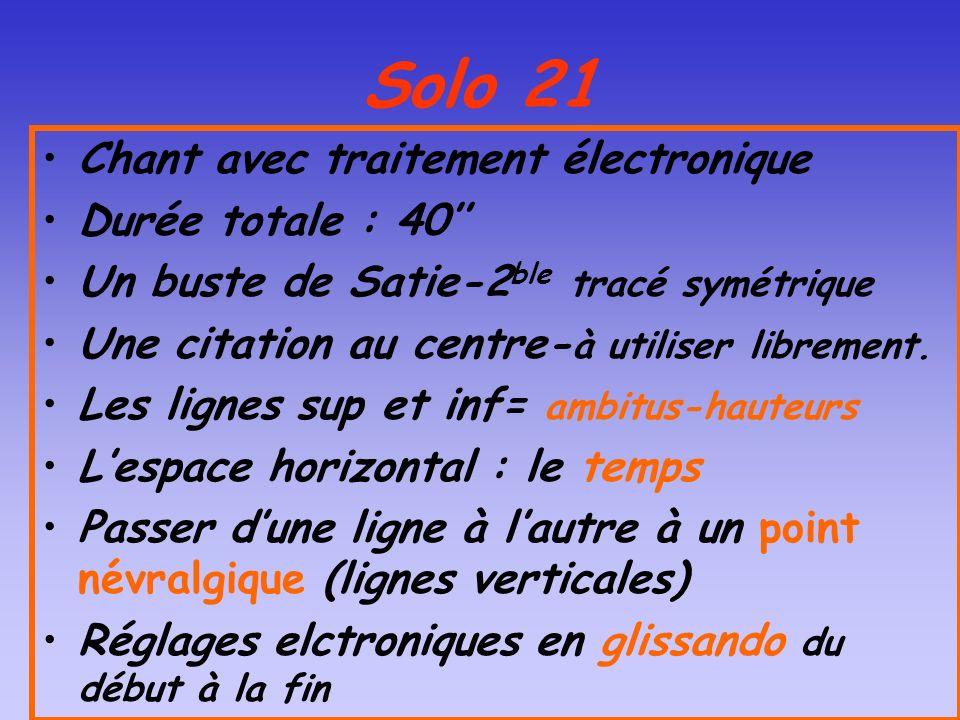 Solo 21 Chant avec traitement électronique Durée totale : 40 Un buste de Satie-2 ble tracé symétrique Une citation au centre- à utiliser librement. Le