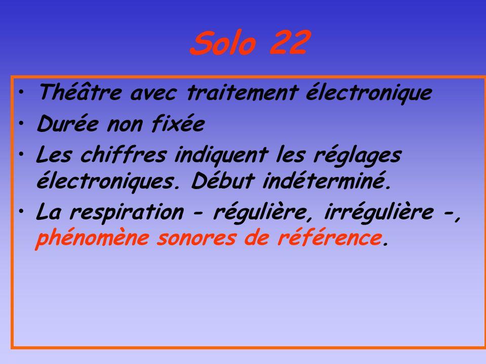 Solo 22 Théâtre avec traitement électronique Durée non fixée Les chiffres indiquent les réglages électroniques. Début indéterminé. La respiration - ré