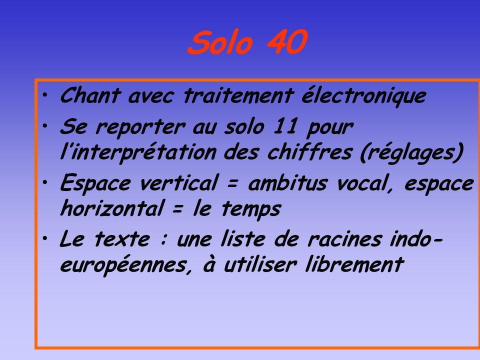 Solo 40 Chant avec traitement électronique Se reporter au solo 11 pour linterprétation des chiffres (réglages) Espace vertical = ambitus vocal, espace