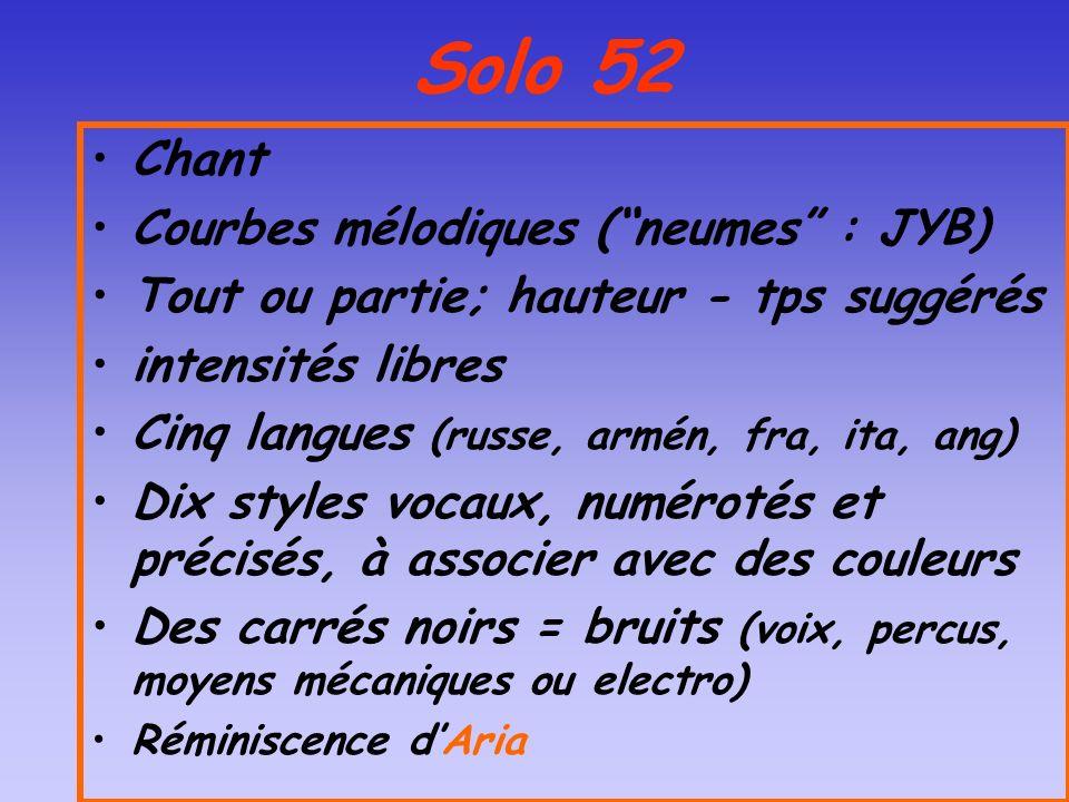 Solo 52 Chant Courbes mélodiques (neumes : JYB) Tout ou partie; hauteur - tps suggérés intensités libres Cinq langues (russe, armén, fra, ita, ang) Di