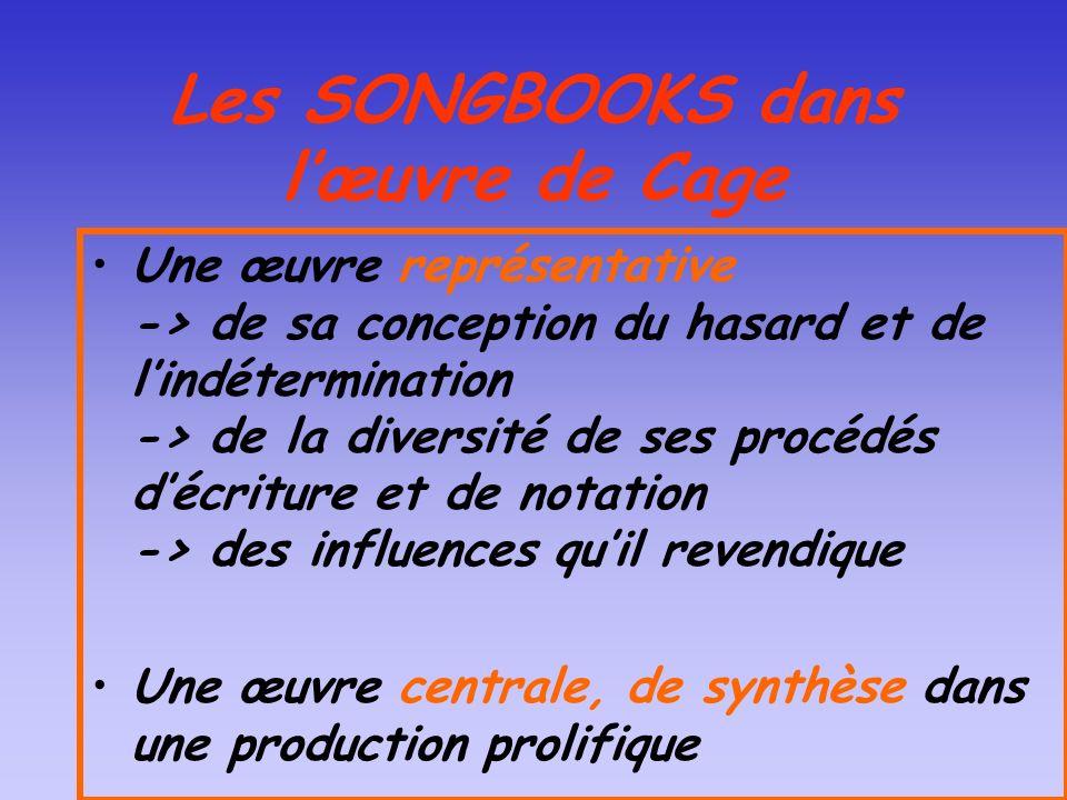 Les SONGBOOKS dans lœuvre de Cage Une œuvre représentative -> de sa conception du hasard et de lindétermination -> de la diversité de ses procédés déc