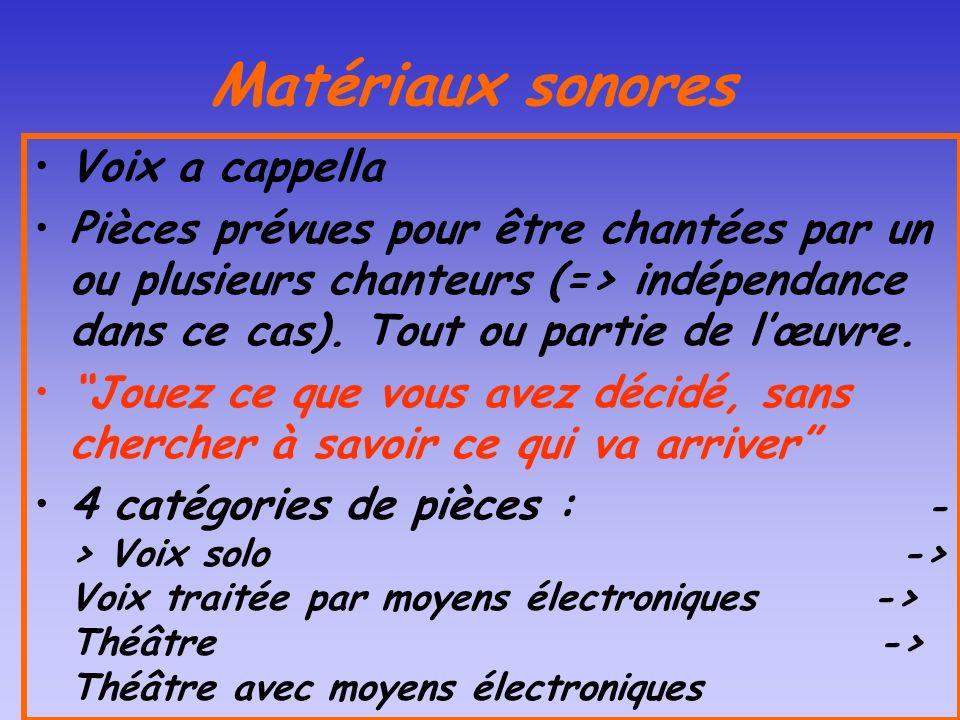 Matériaux sonores Voix a cappella Pièces prévues pour être chantées par un ou plusieurs chanteurs (=> indépendance dans ce cas). Tout ou partie de lœu