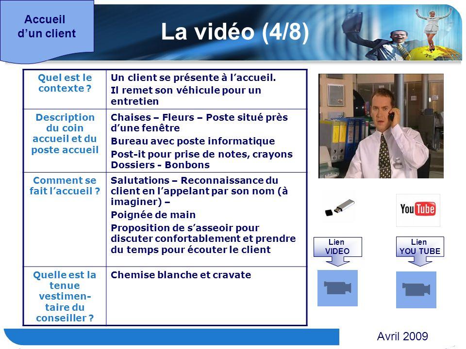 www.themegallery.com Accueil dun client La vidéo (4/8) Quel est le contexte ? Un client se présente à laccueil. Il remet son véhicule pour un entretie