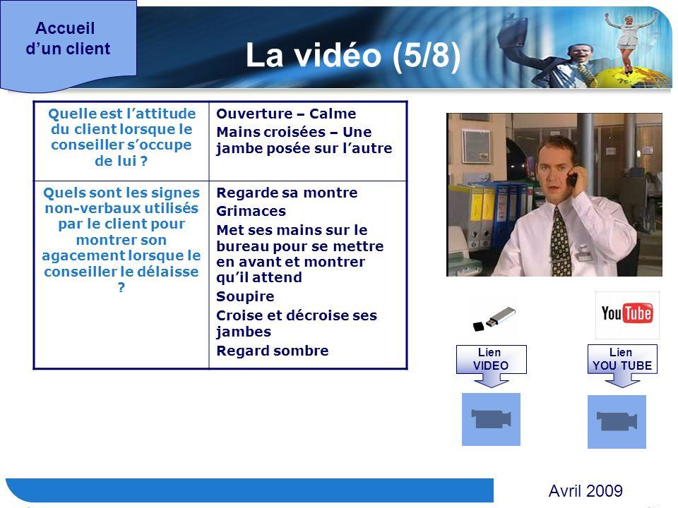 www.themegallery.com Accueil dun client La vidéo (5/8) Quelle est lattitude du client lorsque le conseiller soccupe de lui ? Ouverture – Calme Mains c