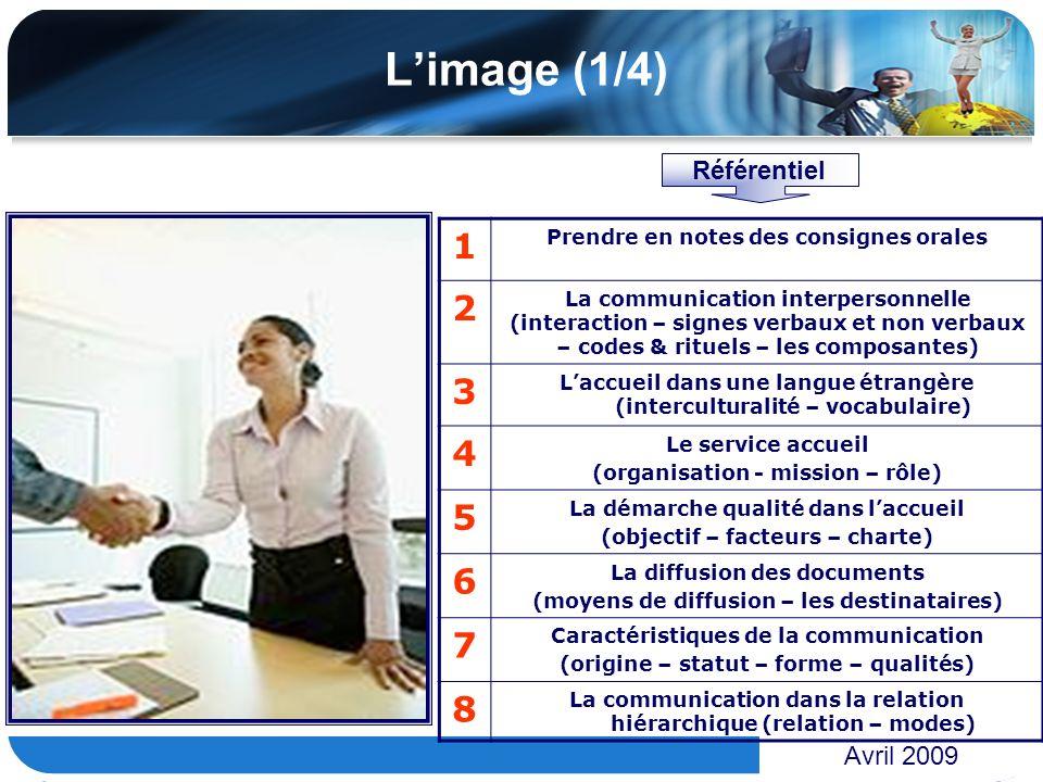 www.themegallery.com Limage (1/4) Avril 2009 1 Prendre en notes des consignes orales 2 La communication interpersonnelle (interaction – signes verbaux