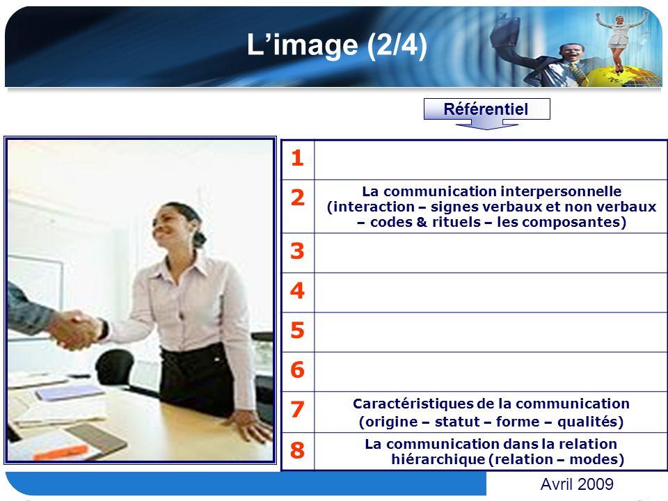 www.themegallery.com Limage (2/4) Avril 2009 1 2 La communication interpersonnelle (interaction – signes verbaux et non verbaux – codes & rituels – le