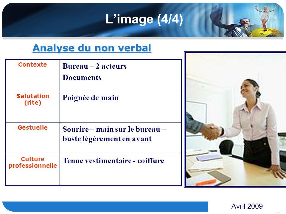 www.themegallery.com Limage (4/4) Analyse du non verbal Avril 2009 Contexte Bureau – 2 acteurs Documents Salutation (rite) Poignée de main Gestuelle S