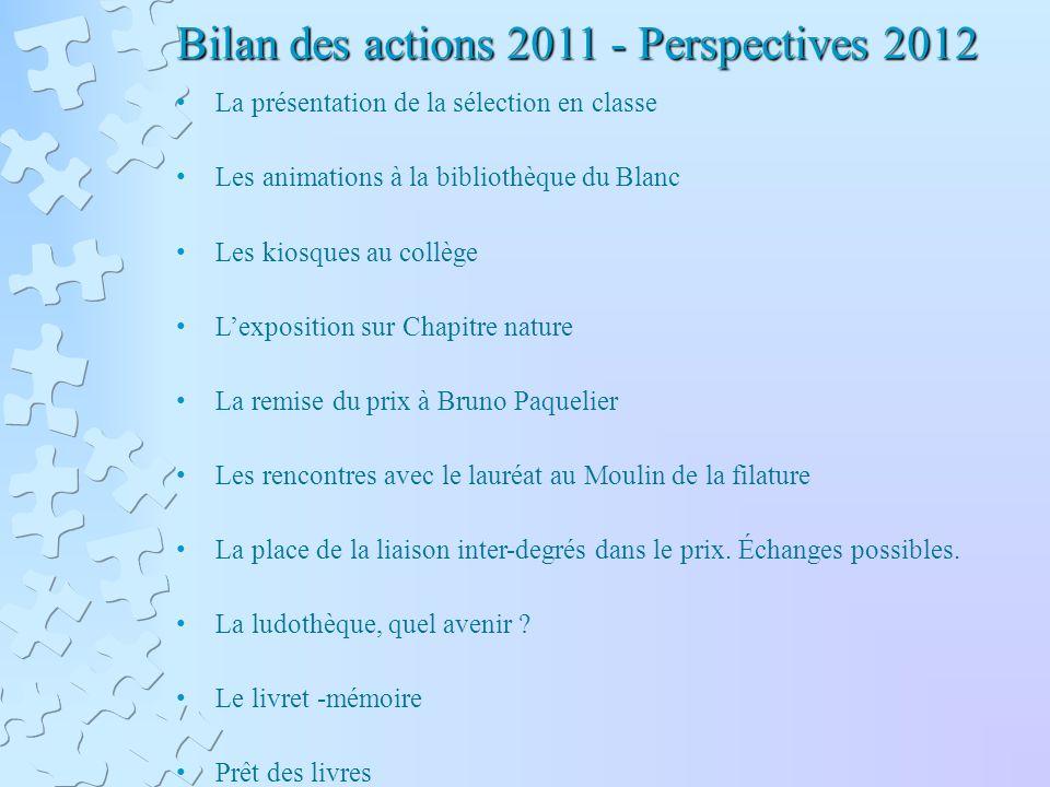 Bilan des actions 2011 - Perspectives 2012 La présentation de la sélection en classe Les animations à la bibliothèque du Blanc Les kiosques au collège