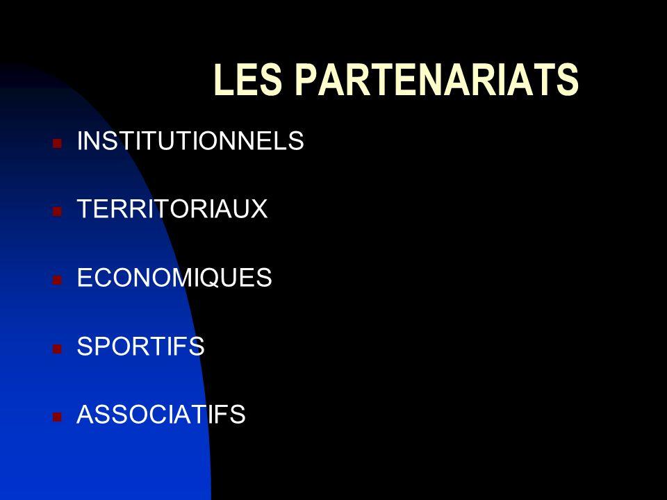 LES PARTENARIATS INSTITUTIONNELS TERRITORIAUX ECONOMIQUES SPORTIFS ASSOCIATIFS