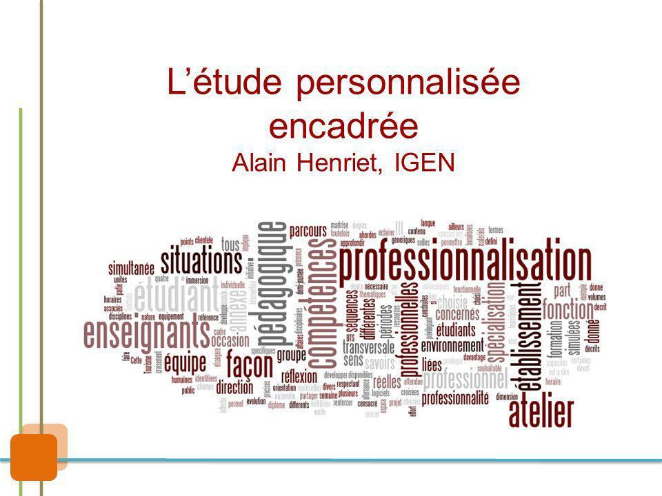 Létude personnalisée encadrée Alain Henriet, IGEN