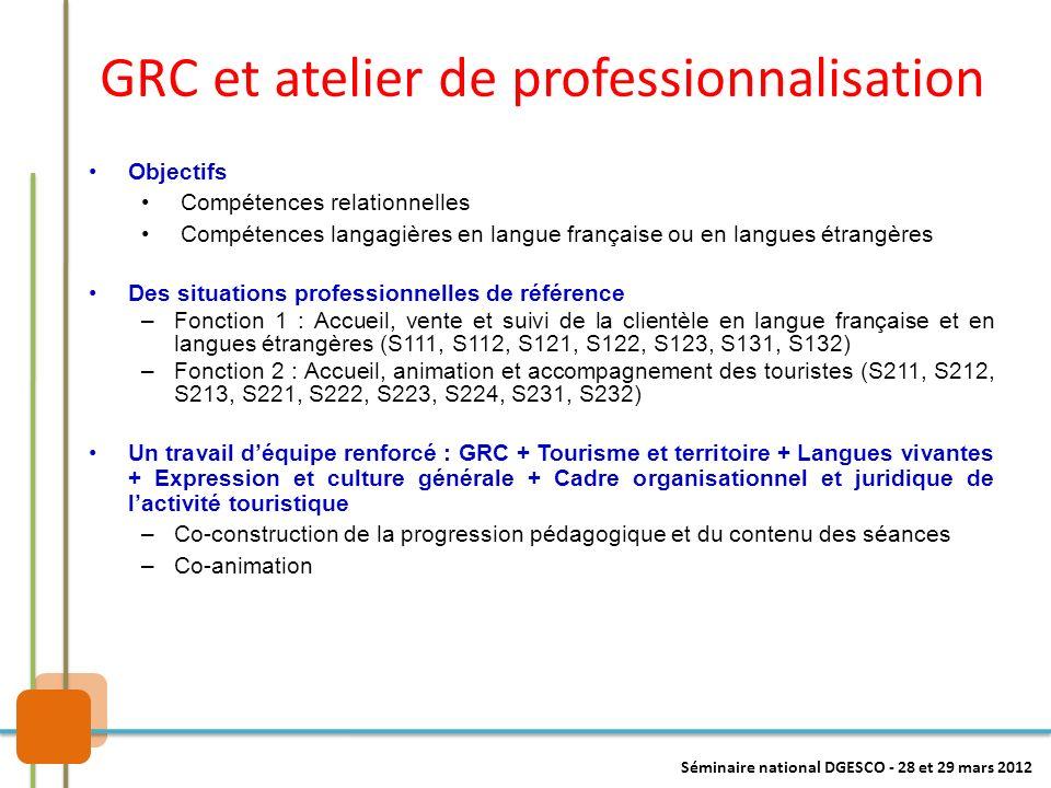 GRC et atelier de professionnalisation Des situations professionnelles de référence –Fonction 1 : Accueil, vente et suivi de la clientèle en langue fr