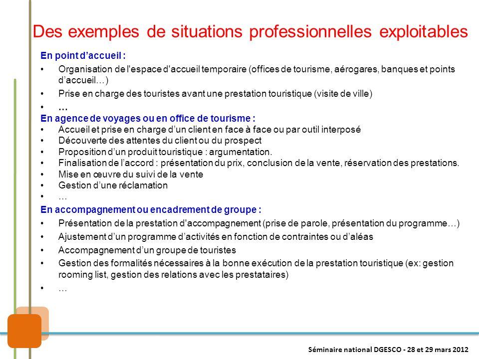 Des exemples de situations professionnelles exploitables En point daccueil : Organisation de l'espace d'accueil temporaire (offices de tourisme, aérog