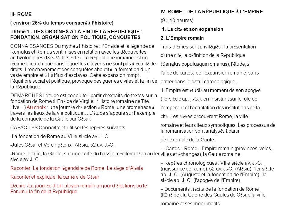 III- ROME ( environ 25% du temps consacr é à l histoire) Th è me 1 - DES ORIGINES A LA FIN DE LA REPUBLIQUE : FONDATION, ORGANISATION POLITIQUE, CONQU