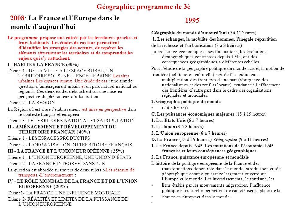 Géographie: programme de 3è Le programme propose une entrée par les territoires proches et leurs habitants. Les études de cas leur permettent didentif