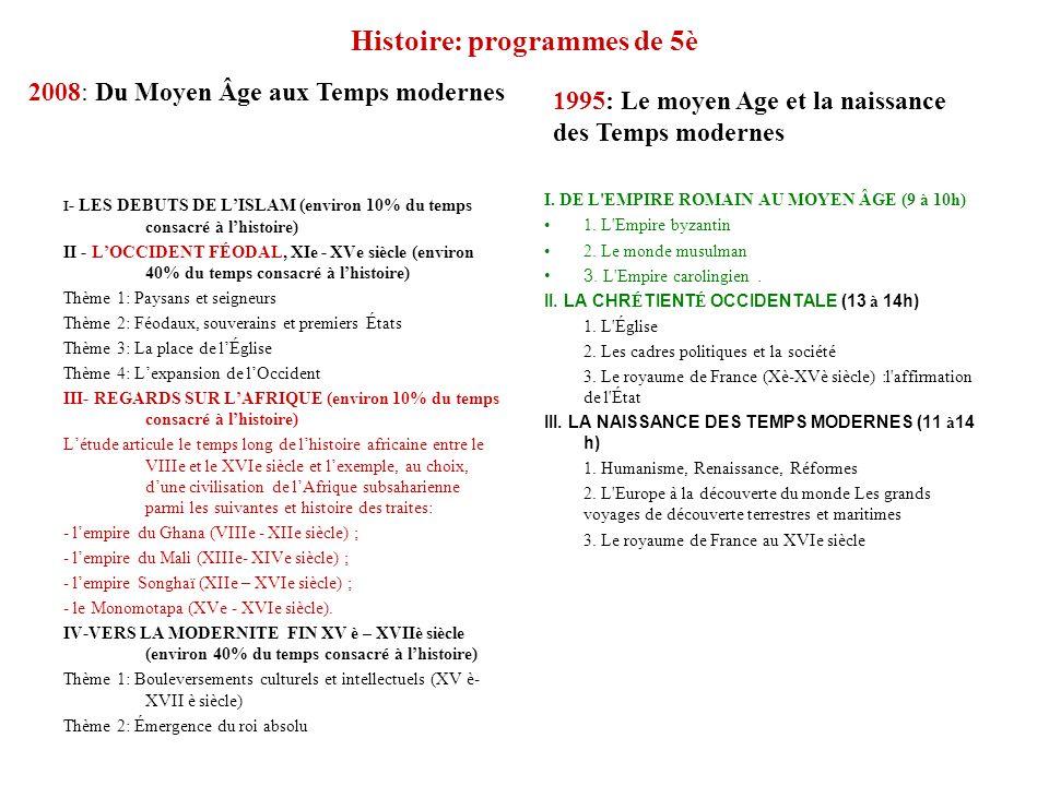 Histoire: programmes de 5è I - LES DEBUTS DE LISLAM (environ 10% du temps consacré à lhistoire) II - LOCCIDENT FÉODAL, XIe - XVe siècle (environ 40% d