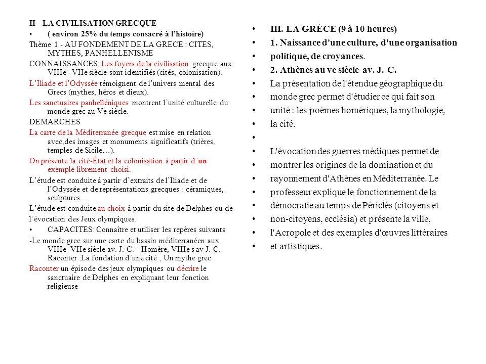 II - LA CIVILISATION GRECQUE ( environ 25% du temps consacré à lhistoire) Thème 1 - AU FONDEMENT DE LA GRECE : CITES, MYTHES, PANHELLENISME CONNAISSAN
