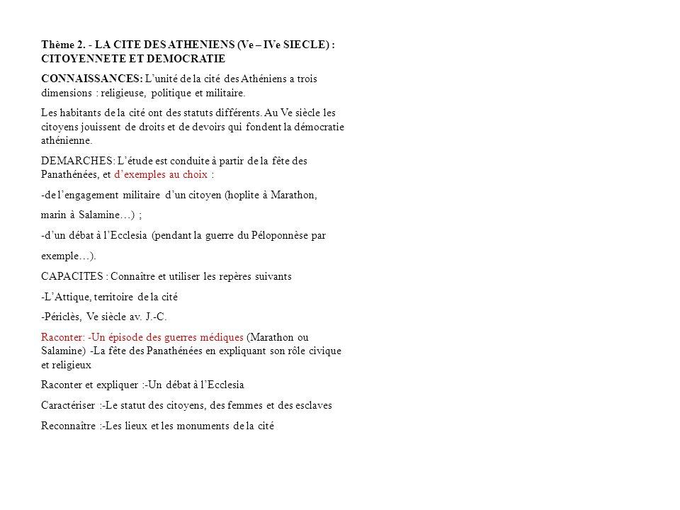 Thème 2. - LA CITE DES ATHENIENS (Ve – IVe SIECLE) : CITOYENNETE ET DEMOCRATIE CONNAISSANCES: Lunité de la cité des Athéniens a trois dimensions : rel