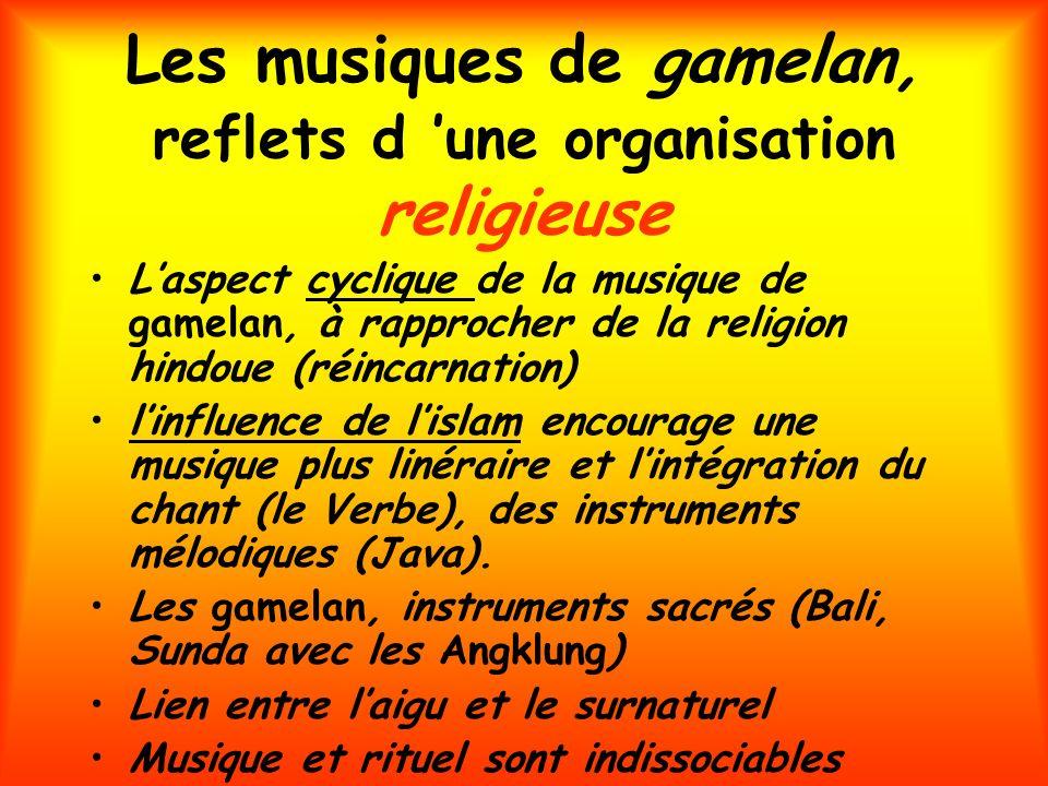 Les musiques de gamelan, reflets d une organisation religieuse Laspect cyclique de la musique de gamelan, à rapprocher de la religion hindoue (réincar