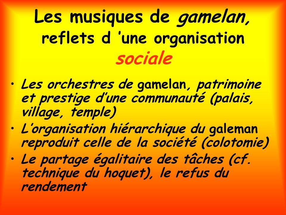 Les musiques de gamelan, reflets d une organisation sociale Les orchestres de gamelan, patrimoine et prestige dune communauté (palais, village, temple