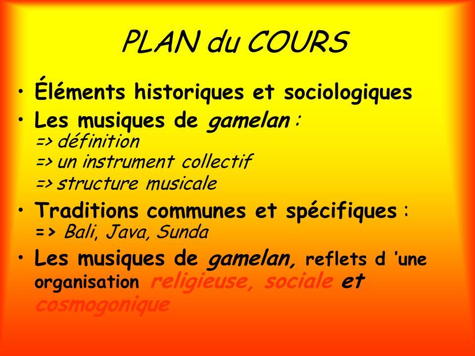 PLAN du COURS Éléments historiques et sociologiques Les musiques de gamelan : => définition => un instrument collectif => structure musicale Tradition