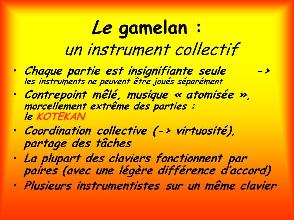 Le gamelan : un instrument collectif Chaque partie est insignifiante seule -> les instruments ne peuvent être joués séparément Contrepoint mêlé, musiq