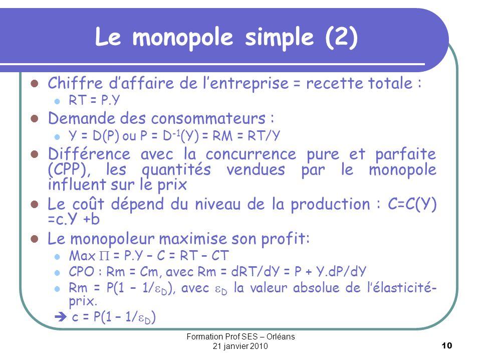 10 Le monopole simple (2) Chiffre daffaire de lentreprise = recette totale : RT = P.Y Demande des consommateurs : Y = D(P) ou P = D -1 (Y) = RM = RT/Y