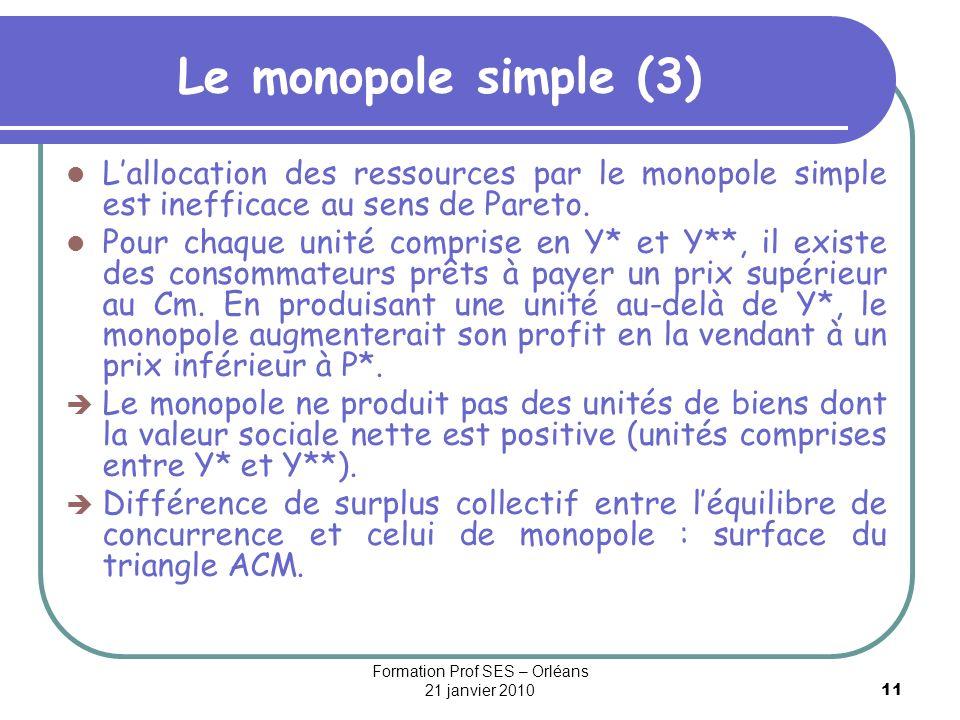 11 Le monopole simple (3) Lallocation des ressources par le monopole simple est inefficace au sens de Pareto. Pour chaque unité comprise en Y* et Y**,