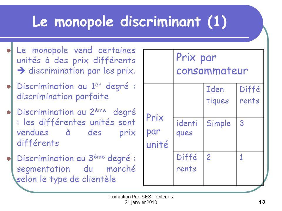 13 Le monopole discriminant (1) Le monopole vend certaines unités à des prix différents discrimination par les prix. Discrimination au 1 er degré : di