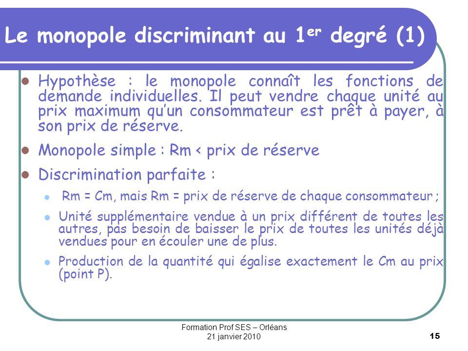 15 Le monopole discriminant au 1 er degré (1) Hypothèse : le monopole connaît les fonctions de demande individuelles. Il peut vendre chaque unité au p