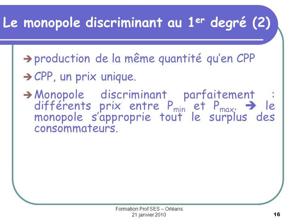 16 Le monopole discriminant au 1 er degré (2) production de la même quantité quen CPP CPP, un prix unique. Monopole discriminant parfaitement : différ