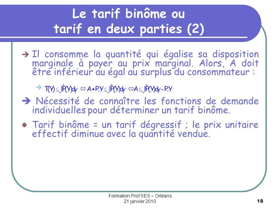 18 Le tarif binôme ou tarif en deux parties (2) Il consomme la quantité qui égalise sa disposition marginale à payer au prix marginal. Alors, A doit ê