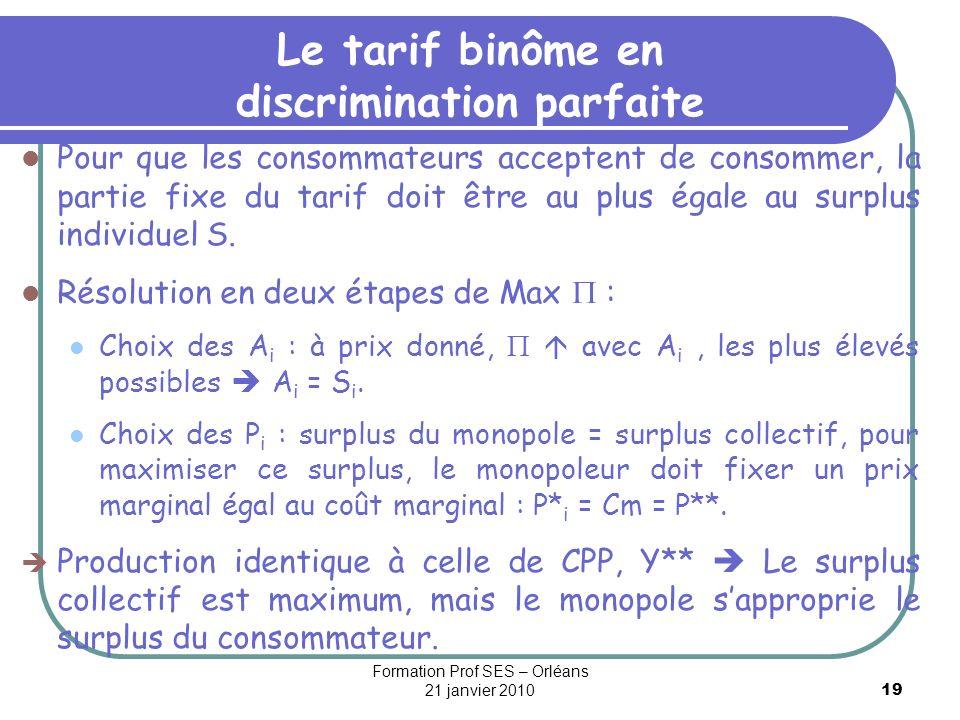 19 Le tarif binôme en discrimination parfaite Pour que les consommateurs acceptent de consommer, la partie fixe du tarif doit être au plus égale au su
