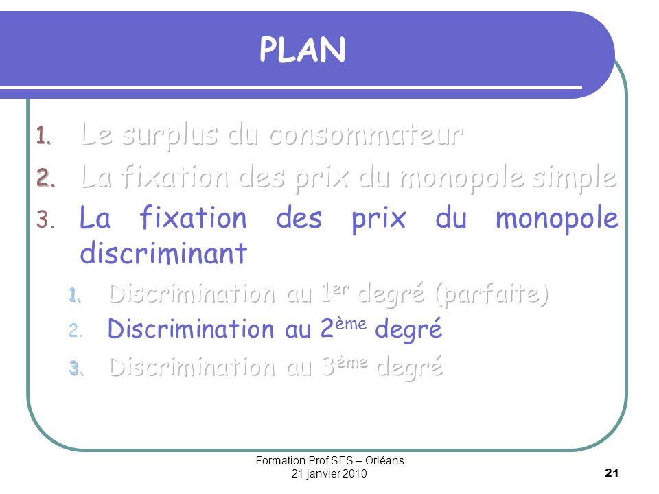 21 PLAN Formation Prof SES – Orléans 21 janvier 2010