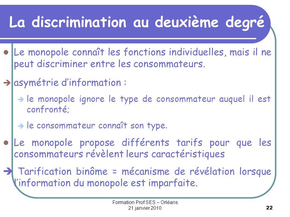 22 La discrimination au deuxième degré Le monopole connaît les fonctions individuelles, mais il ne peut discriminer entre les consommateurs. asymétrie