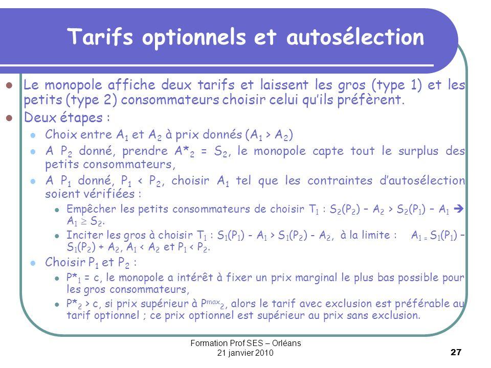 27 Tarifs optionnels et autosélection Le monopole affiche deux tarifs et laissent les gros (type 1) et les petits (type 2) consommateurs choisir celui