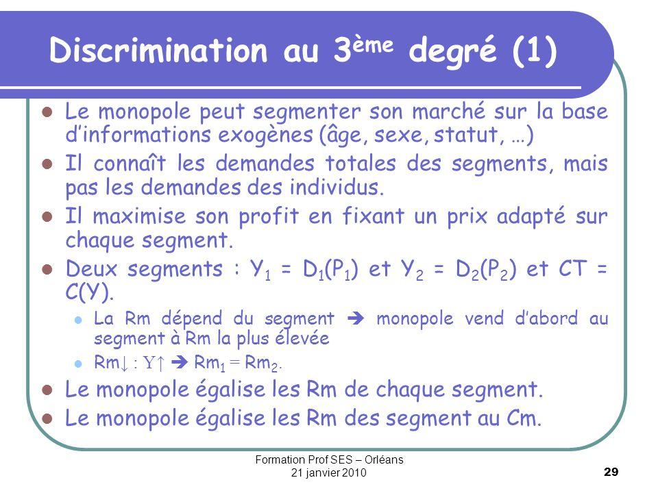 29 Discrimination au 3 ème degré (1) Le monopole peut segmenter son marché sur la base dinformations exogènes (âge, sexe, statut, …) Il connaît les de