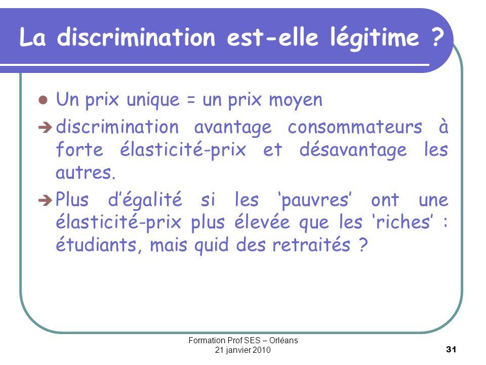 31 La discrimination est-elle légitime ? Un prix unique = un prix moyen discrimination avantage consommateurs à forte élasticité-prix et désavantage l