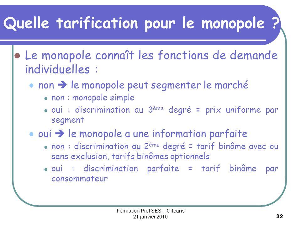 32 Quelle tarification pour le monopole ? Le monopole connaît les fonctions de demande individuelles : non le monopole peut segmenter le marché non :
