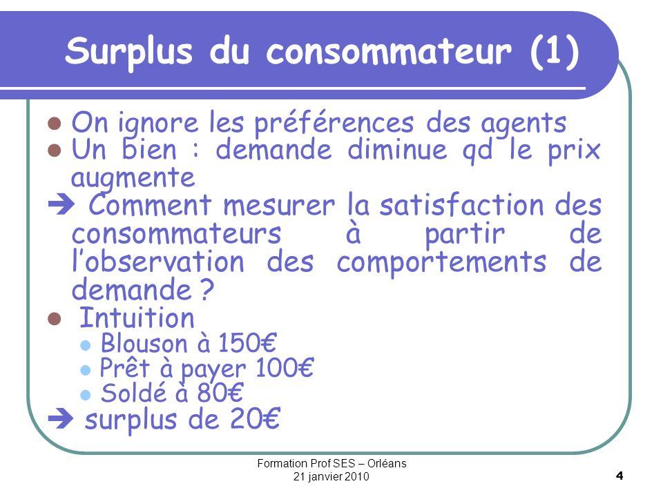 4 Surplus du consommateur (1) On ignore les préférences des agents Un bien : demande diminue qd le prix augmente Comment mesurer la satisfaction des c