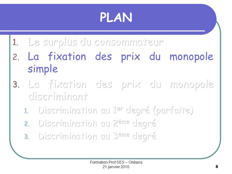 19 Le tarif binôme en discrimination parfaite Pour que les consommateurs acceptent de consommer, la partie fixe du tarif doit être au plus égale au surplus individuel S.