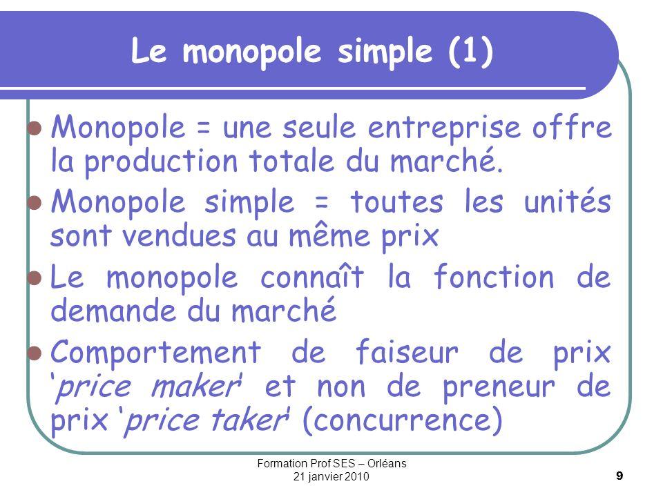 10 Le monopole simple (2) Chiffre daffaire de lentreprise = recette totale : RT = P.Y Demande des consommateurs : Y = D(P) ou P = D -1 (Y) = RM = RT/Y Différence avec la concurrence pure et parfaite (CPP), les quantités vendues par le monopole influent sur le prix Le coût dépend du niveau de la production : C=C(Y) =c.Y +b Le monopoleur maximise son profit: Max = P.Y – C = RT – CT CPO : Rm = Cm, avec Rm = dRT/dY = P + Y.dP/dY Rm = P(1 – 1/ D ), avec D la valeur absolue de lélasticité- prix.